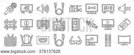 Television Line Icons. Linear Set. Quality Vector Line Set Such As Curved, Screen, Hdmi Cable, Broke