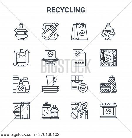 Set Of 16 Recycling Concept Vector Line Icons. 64x64 Thin Stroke Icons Such As Sauce Bottle, Milk Bo