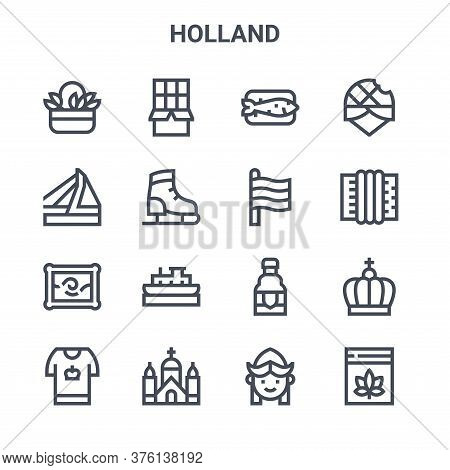 Set Of 16 Holland Concept Vector Line Icons. 64x64 Thin Stroke Icons Such As Chocolate, Bridge, Acco