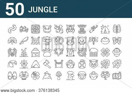 Set Of 50 Jungle Icons. Outline Thin Line Icons Such As Map, Binoculars, Toucan, Spider, Fern, Buggy