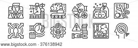 12 Set Of Linear Business Risks Icons. Thin Outline Icons Such As Objective, Risk, Deadline, Finance