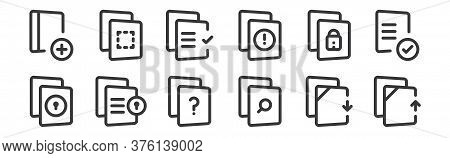 12 Set Of Linear File And Archive Icons. Thin Outline Icons Such As Upload File, Search File, File,