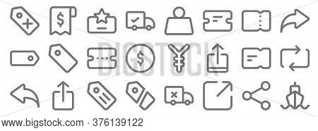 Marketplace Line Icons. Linear Set. Quality Vector Line Set Such As Ship, Share, Label, Undo, Ticket