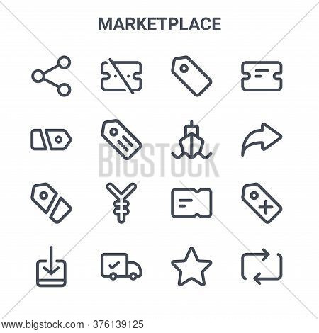 Set Of 16 Marketplace Concept Vector Line Icons. 64x64 Thin Stroke Icons Such As Voucher, Price, Sha
