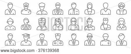 Professions Line Icons. Linear Set. Quality Vector Line Set Such As Lawyer, Teacher, Bellboy, Busine