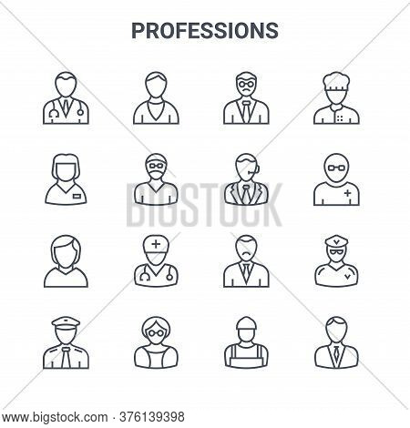 Set Of 16 Professions Concept Vector Line Icons. 64x64 Thin Stroke Icons Such As Priest, Babysitter,