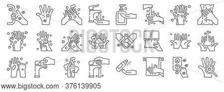 Washing Hand Line Icons. Linear Set. Quality Vector Line Set Such As Hand, Towel, Faucet, Hand Washi