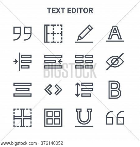 Set Of 16 Text Editor Concept Vector Line Icons. 64x64 Thin Stroke Icons Such As Border, Indent, Hid