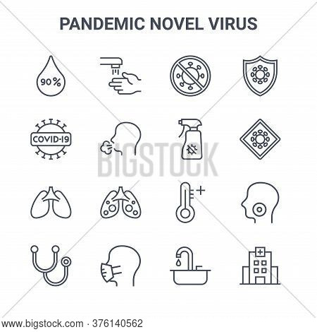 Set Of 16 Pandemic Novel Virus Concept Vector Line Icons. 64x64 Thin Stroke Icons Such As Hand Wash,