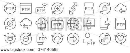 Data Transfer Line Icons. Linear Set. Quality Vector Line Set Such As Like, User, Synchronize, Datab