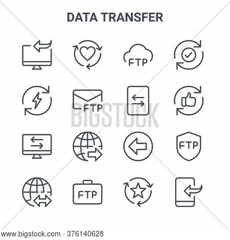 Set Of 16 Data Transfer Concept Vector Line Icons. 64x64 Thin Stroke Icons Such As Like, Energy, Goo