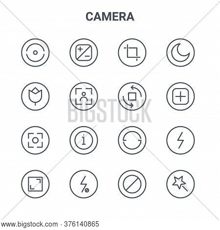 Set Of 16 Camera Concept Vector Line Icons. 64x64 Thin Stroke Icons Such As Contrast, Effect, Add, R