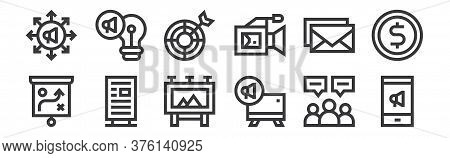 12 Set Of Linear Advertisement Icons. Thin Outline Icons Such As Mobile Marketing, Announcement, Adv