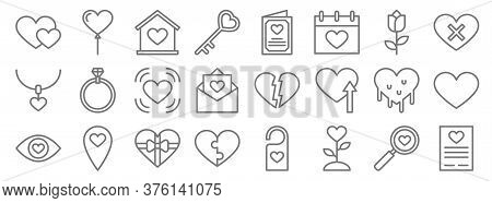 Love Line Icons. Linear Set. Quality Vector Line Set Such As Document, Planet, Puzzle, In Love, Hear