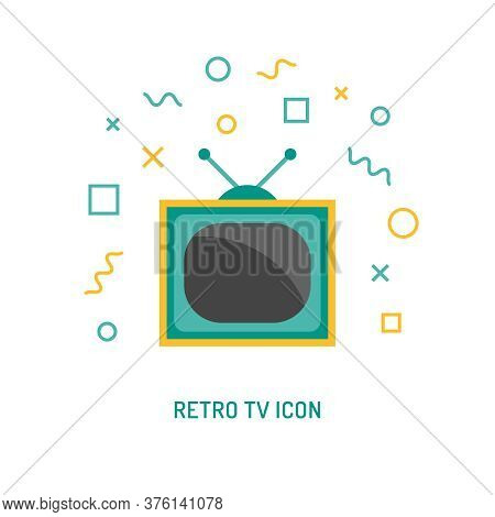 TV household domestic appliances flat icon illustration and different geometric vector symbol. Television set sign isolated on white background