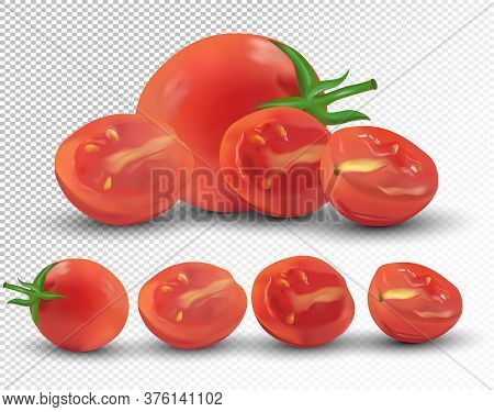 Set Of Tomato Are Whole And Cut In Half. Fresh Tomato On Transparent Background. 3d Realistic Tomato