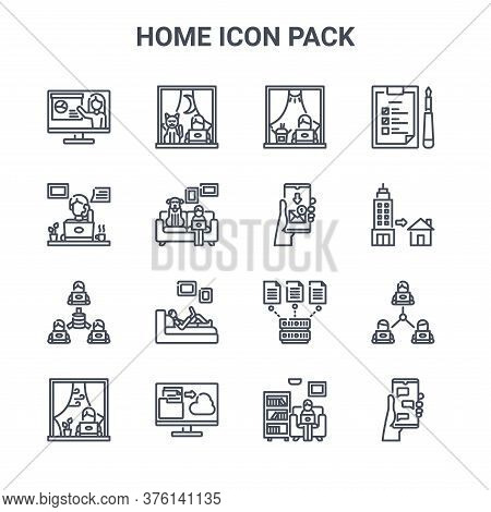 Set Of 16 Home Icon Pack Concept Vector Line Icons. 64x64 Thin Stroke Icons Such As Working, Telewor
