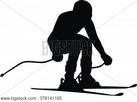 Slalom Giant Black Silhouette Of Man Athlete Skier