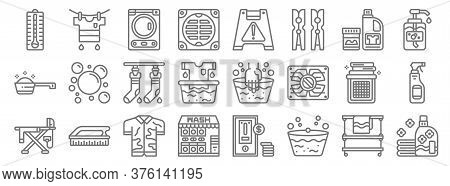 Laundry Line Icons. Linear Set. Quality Vector Line Set Such As Softener, Wash, Laundry Service, Iro