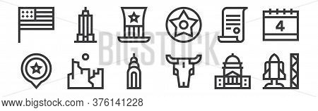 12 Set Of Linear United States Of America Icons. Thin Outline Icons Such As Space Shuttle, Bull Skul