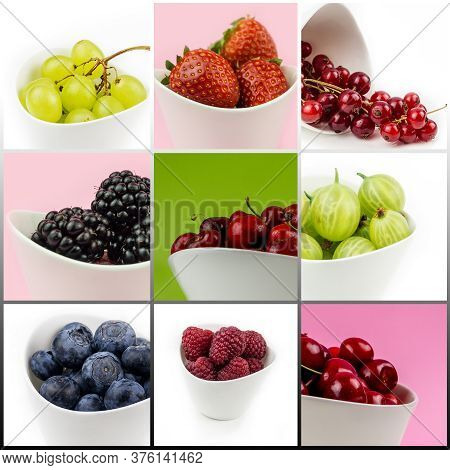 Collection Of Fruit In White Ceramic Bowls On Multicolor Background Isolated, Cherry, Strawberry, Bl