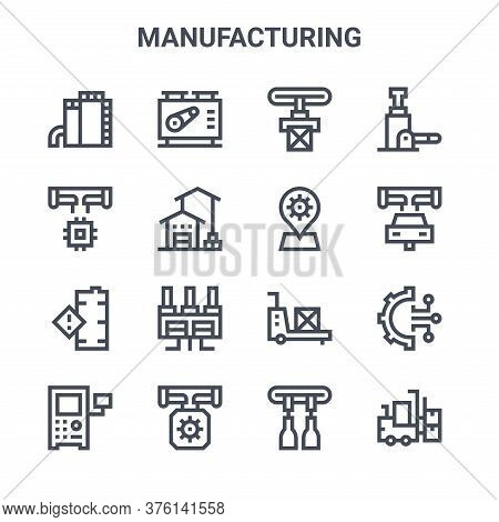 Set Of 16 Manufacturing Concept Vector Line Icons. 64x64 Thin Stroke Icons Such As Machine, Manufact