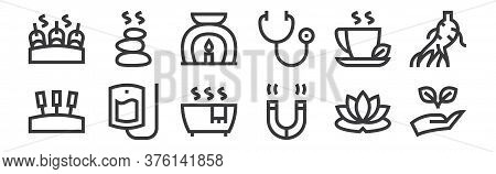 12 Set Of Linear Alternative Medicine Icons. Thin Outline Icons Such As Hand, Magnet, Iv Bag, Herbal