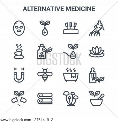 Set Of 16 Alternative Medicine Concept Vector Line Icons. 64x64 Thin Stroke Icons Such As Herb, Hot