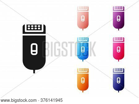Black Electrical Hair Clipper Or Shaver Icon Isolated On White Background. Barbershop Symbol. Set Ic