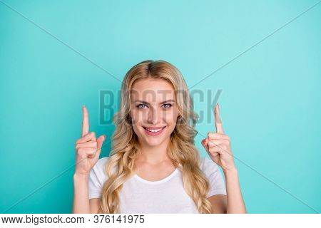 Portrait Of Positive Cheerful Girl Promoter Point Index Finger Up Copyspace Indicate Ads Promo Recom