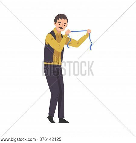 Dressmaker With Measuring Tape, Male Clothing Designer Tailor Working At Atelier Vector Illustration