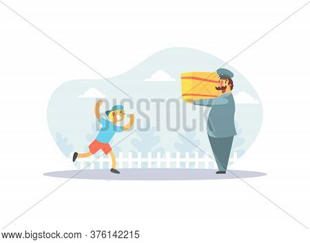 Happy Boy Running To Postman In Uniform Delivering Parcel Vector Illustration