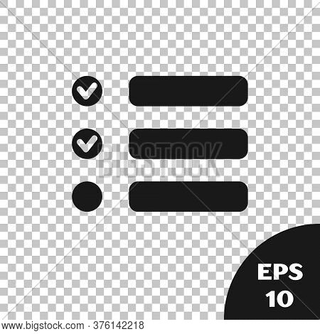 Black Task List Icon Isolated On Transparent Background. Control List Symbol. Survey Poll Or Questio