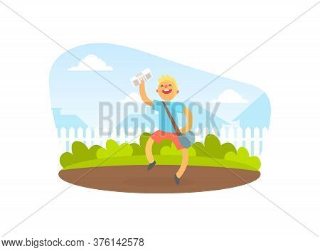 Smiling Boy Courier Delivering Newspapers, Courier Running On Summer Landscape Vector Illustration