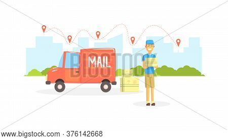 Delivery Man, Postman Or Courier Delivering Parcels At Post Office Cargo Vehicle Vector Illustration
