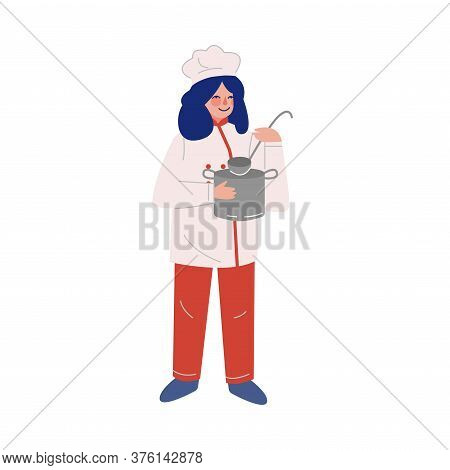 Woman Professional Chef Character With Saucepan And Laddle, Female Kitchener Wearing Traditional Uni