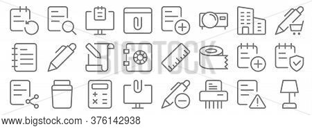 Work Office Supply Line Icons. Linear Set. Quality Vector Line Set Such As Table Lamp, Paper Shder,