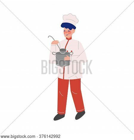 Man Professional Chef Character With Saucepan And Laddle, Male Kitchener Wearing Traditional Uniform