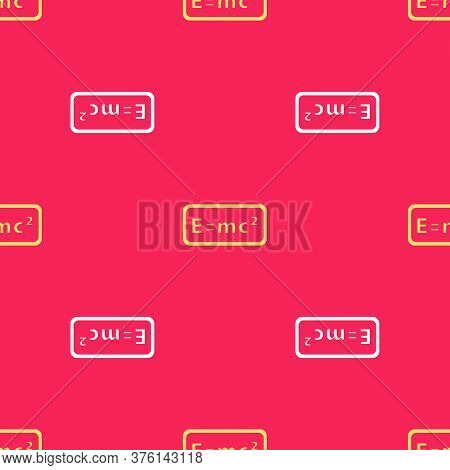 Yellow Math System Of Equation Solution Icon Isolated Seamless Pattern On Red Background. E Equals M