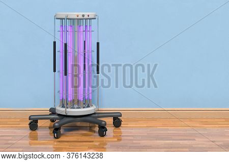 Ultraviolet Uv Disinfection Lamp In Room Near Wall, 3d Rendering
