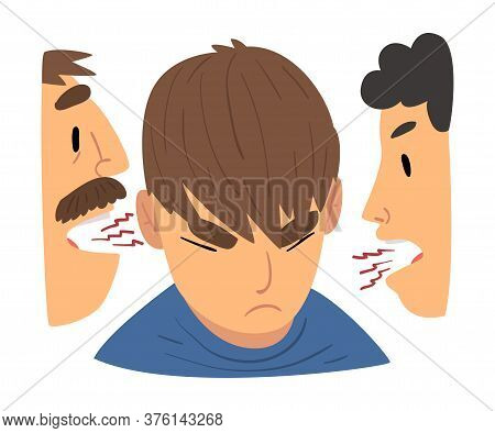 Conflict With Parents, Angry Mother And Father Having A Quarrel Arguing With Rebellious Teen Son Vec