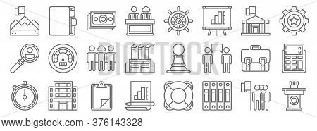 Management Line Icons. Linear Set. Quality Vector Line Set Such As Speech, Archive, Analysis, Stopwa
