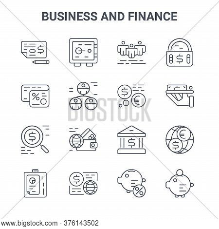 Set Of 16 Business And Finance Concept Vector Line Icons. 64x64 Thin Stroke Icons Such As Safe Box,