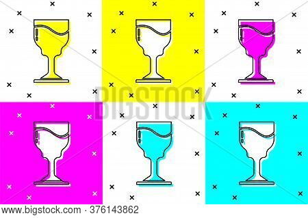 Set Wine Glass Icon Isolated On Color Background. Wineglass Icon. Goblet Symbol. Glassware Sign. Hap