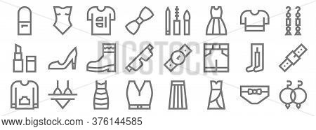 Fashion Line Icons. Linear Set. Quality Vector Line Set Such As Earrings, Dress, Shirt, Sweater, Leo