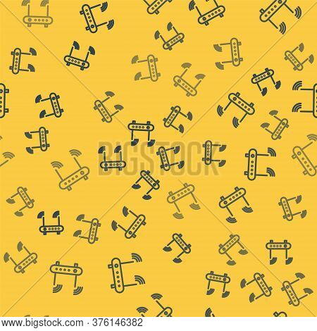 Blue Line Router And Wi-fi Signal Symbol Icon Isolated Seamless Pattern On Yellow Background. Wirele