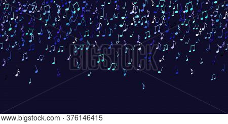 Seamless Pattern Colorful Flying Musical Notes On Black. Musical Signs For Banner Of Festival, Print