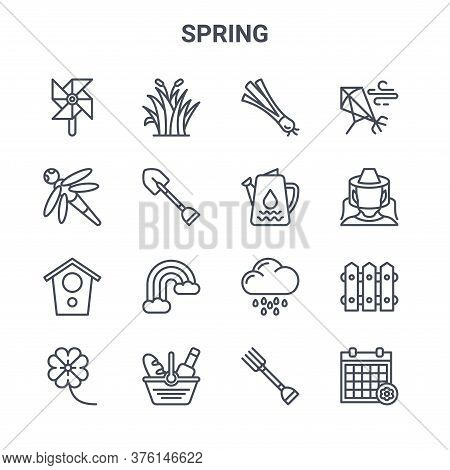 Set Of 16 Spring Concept Vector Line Icons. 64x64 Thin Stroke Icons Such As Grass, Dragon Fly, Beeke