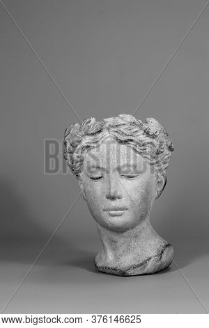 Beautiful Design Elements. Stylish Decoration Made In Shape Of Greek Goddess Head. Gray Background.