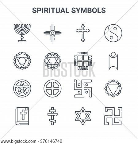 Set Of 16 Spiritual Symbols Concept Vector Line Icons. 64x64 Thin Stroke Icons Such As Native Americ